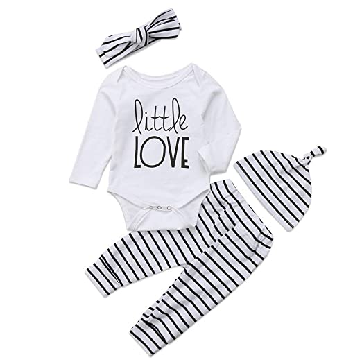 Baby Girl Boy Clothes Outfit Set Newborn Letter Print Long Sleeve Bodysuit  + Striped Pants+ 38d300cfd