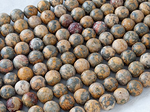 Beads Ok, DIY, Yellow Leopard Skin Jasper, Natural, 12mm, Plain Round Semi-precious Gemstone Bead, About 38cm a Strand. (Please click to see other options.) - Leopard Skin Jasper Round Beads