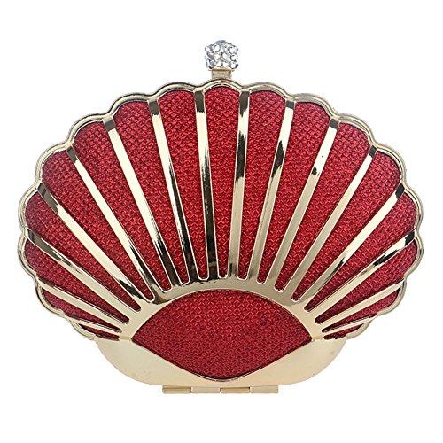 fériés Rigide à Métallique de Jours soirée Sac Cocktail chaîne Rouge châssis 15x11x6cm Main étui Soirée Rouge de d'autres 6x4x2inch Sangle Femmes Embrayage wZqxpAq