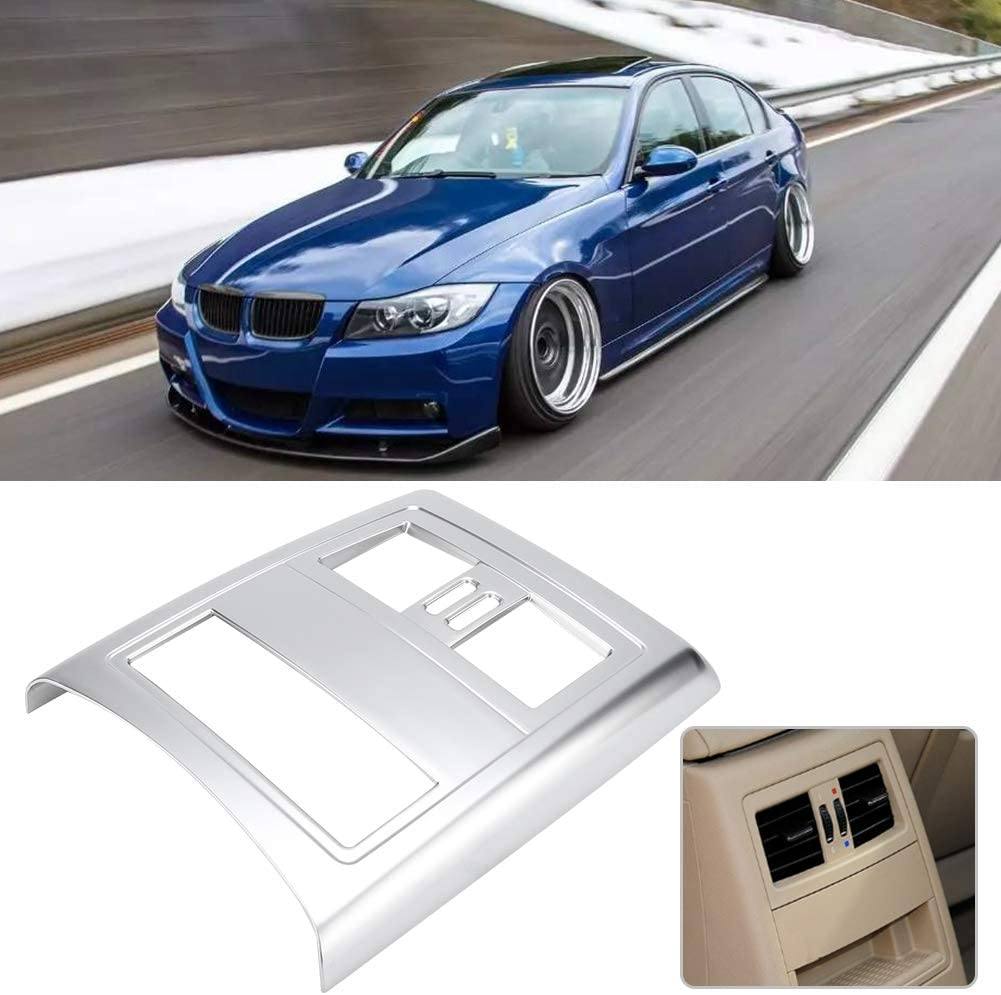 Hlyjoon Car Styling ABS Rear Air Vent Outlet Frame Cover Trim Rear Air Vent Cover Fit for Auto E90 3 Series 2005 2006 2007 2008 2009 2010 2011 2012