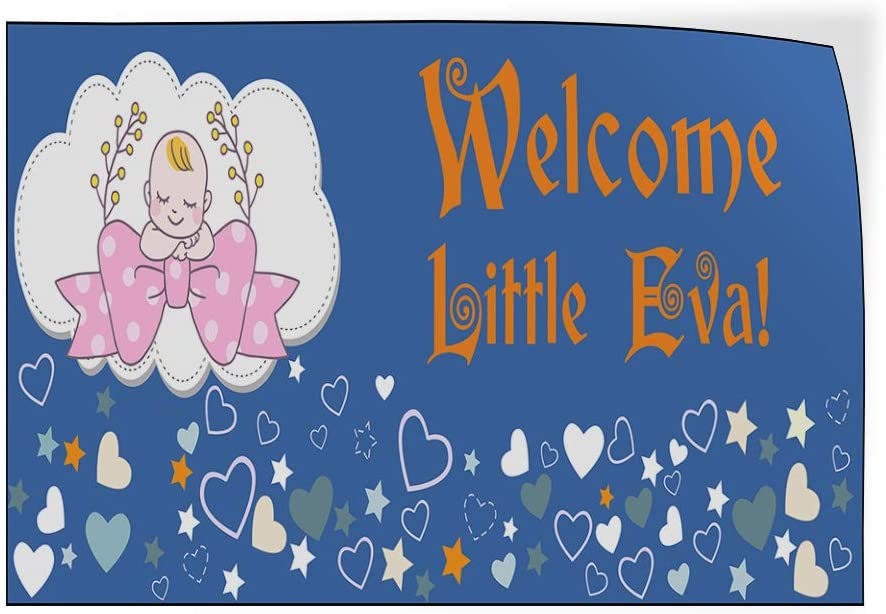 Custom Door Decals Vinyl Stickers Multiple Sizes Welcome Little Girl Name Blue Lifestyle Welcome Signs Outdoor Luggage /& Bumper Stickers for Cars Blue 40X26Inches Set of 2