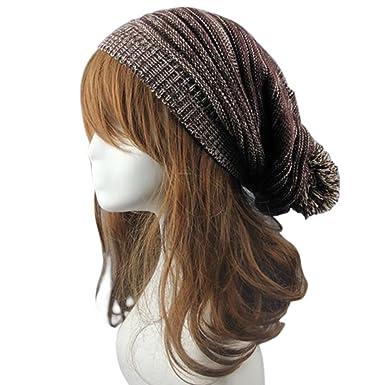 1c9b5ea5a7b Stofirst Winter Women Men Knitted Crochet Long Baggy Slouch Beanie Unisex  Fashion Faux Fur Pom Pom Hat Braided Warm Hiphop Hat(Coffee)  Amazon.co.uk   ...