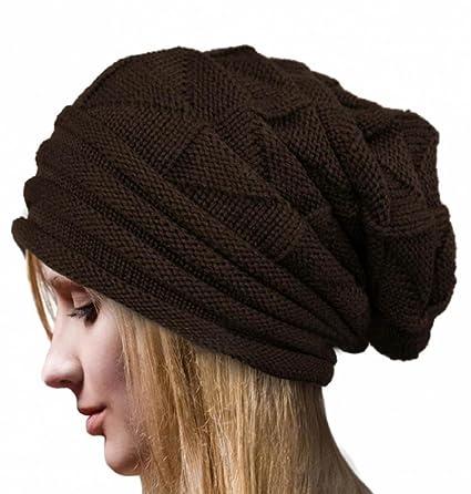 LuckES Crochet Las Mujeres del Invierno Gorro de Lana Tejer Beanie  Casquillos Calientes Las Mujeres Sombrero 34095f539af