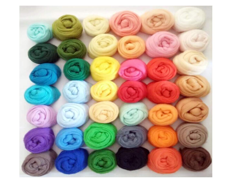 50 Colors Spanish Color Wool Felt Poke Music Material Package DIY Suit | Wool Fiber roving Spinning Sewing Trim Needle Felt DIY Craft/Roving/Roving/Roving Wool/Needl/Felting Wool/Fibre Wool H10N
