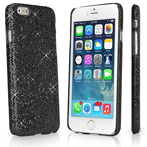 Apple iPhone 6+ Glitter Variety Solid Sequin Bling Diamond Luxury Sparkly Cute Girly Kawaii Pretty Shine Twinkle Sparkle Thin Hard Protective Back 6s+ Plus Cover Case By Tech Express (Black) (Iphone 4 Wall Charger Sparkly)