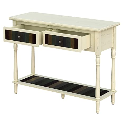 Brilliant Vasagle Console Table With 2 Large Colourful Drawers Country Style Entryway Table With 1 Shelf For Living Room Dining Room Hallway Assembly Gmtry Best Dining Table And Chair Ideas Images Gmtryco