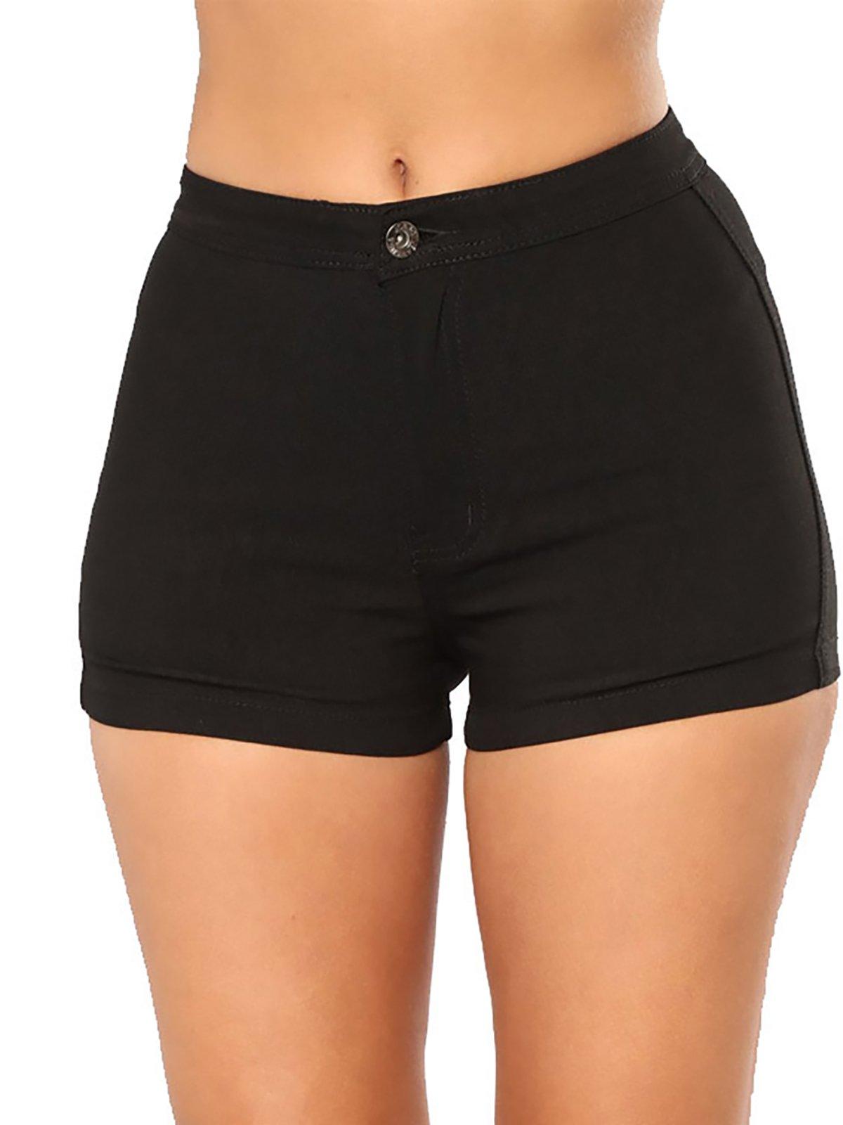 SOODEAR Women's Juniors High Waist Shorts Casual Summer Denim Short Jeans(Black,XL)
