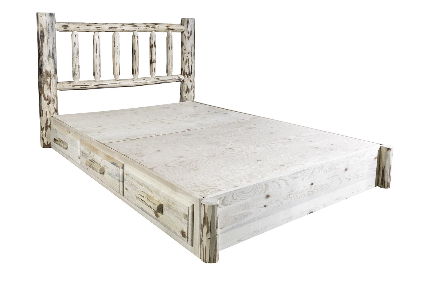 Montana Woodworks Montana Collection Queen Platform Bed with Storage, Ready to Finish