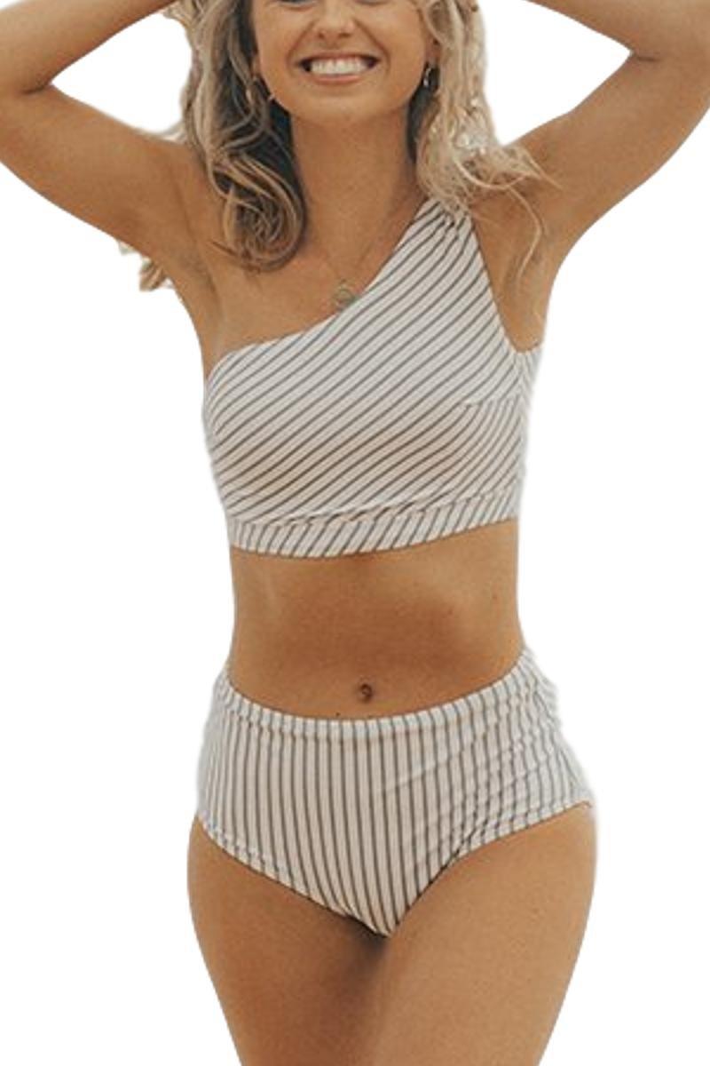 Women's Blue White Breezy Stripe Two Piece Swimsuit,One Shoulder Swimwear Bathing Suit Sold Seperately (A18063,Bottom,S)