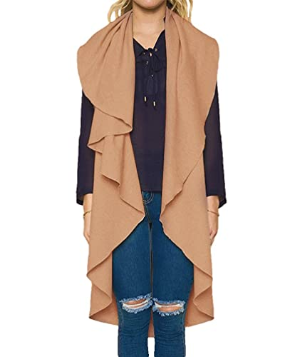 Sentao Mujer Elegante Chaqueta Larga Cárdigan Trench Coat Moda Casual Abrigo Sin mangas Otoño Chalec...