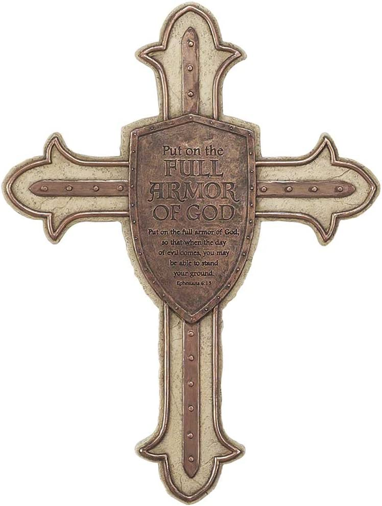 Full Armor of God Shield Ephesian 6:15 Brown 13 Inch Resin Stone Wall Cross