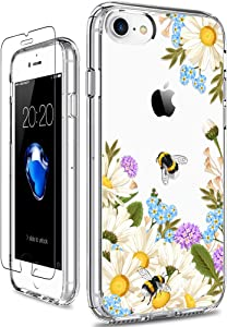 GiiKa iPhone SE 2020 Case, iPhone 8 Case, iPhone 7 Case with Screen Protector, Clear Protective Case Floral Girls Women Hard PC Case with TPU Bumper Cover Phone Case for iPhone 8, White Flowers