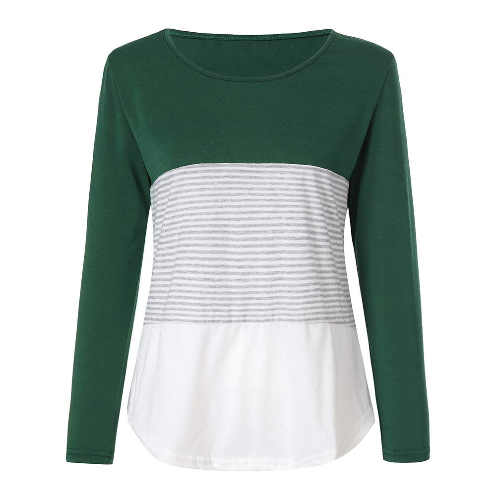 Women's Activewear Womens Tops and Blouses Fall Women Long Sleeve Triple Color Block Stripe T-Shirt Casual Blouse (Green, L)