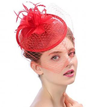 LJ Sombrero - Damas de otoño e Invierno Tocado Sombrero de Novia de Hilados  de Lino 9b743be5789