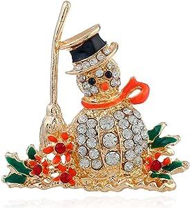 Snowman CZ Brooches for Women Men Girls Gold Tone Fashion Vintage Clear Austrian Crystal Rhinestone Brooch Pins Bow Tie Necktie Winter Costume Dress Accessories Jewelry Unisex