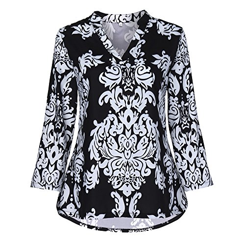 3/4 Sleeve Bib - Reasoncool Printed Shirts for Women, Printed Shirts for Women, 3/4 Sleeve Fashion Womens Floral Tunic Shirts Blouse Roll Sleeve V-Neck Tops Fits for Leggings Jeans (M)