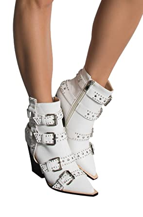 73ba5f9bd AZALEA WANG Faux Snakeskin Studded Buckle Straps Harness Zip Side Heeled  Ankle Cowboy Booties-WHITE