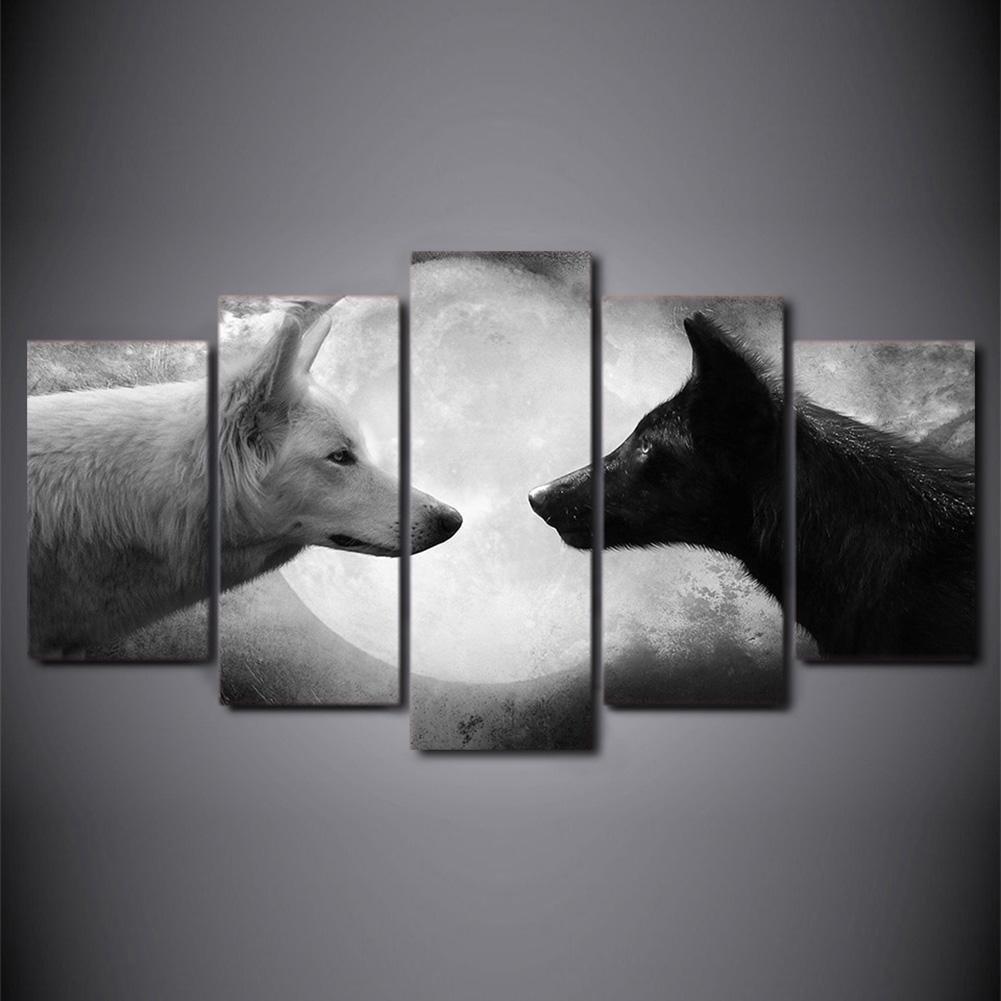 Immagine stampata su tela di canapa Modern Giclee Canvas Prints Artwork Moon sotto la pittura decorativa murale di arte del lupo , With Borders , SizeA YH-Wallart