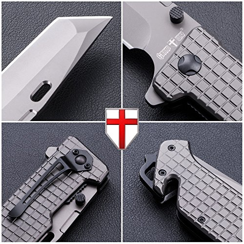 Grand Way Tanto Spring Assisted Pocket Knife - Pocket Folding Knife - Military Style - Boy Scouts Knife - Tactical Knife - Good for Camping, Indoor and Outdoor Activities FL 13069 by Grand Way (Image #4)