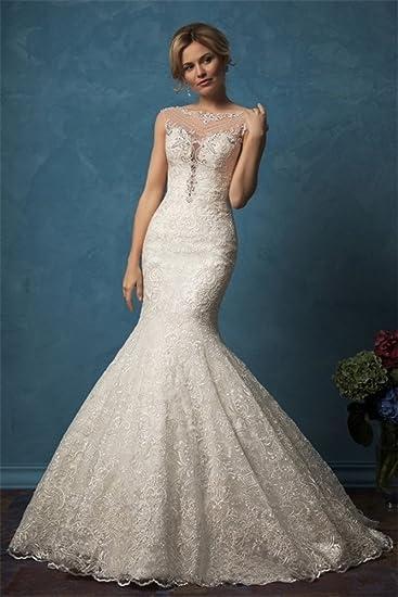 Tsbridal Detachable Train Wedding Dress Lace Mermaid Wedding Gowns ...