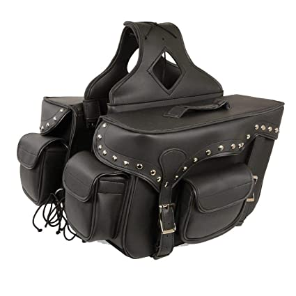 dcebba03b8 Image Unavailable. Image not available for. Color  Milwaukee Performance  SH66601ZB Black Zip-Off Double Pocket Studded PVC Throw Over Saddle Bag with