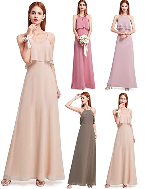 376e084c3ad Ever-Pretty Womens Spaghetti Straps Ruffles Bridesmaid Dress 14 US Blush