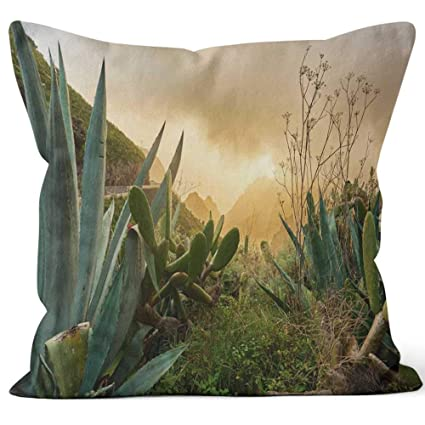 Amazon.com: Arid Vegetation in Tenerife Burlap Pillow Home ...