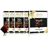 Lindt 瑞士莲 特醇排装70%黑巧克力4块 咖啡色礼盒 400g(瑞士进口)(亚马逊自营商品, 由供应商配送)
