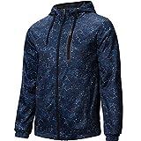 Hoodie Men's Slim Fit Long Sleeve Lightweight Full-Zip Jacket 9 Pockets Camo Blue,Medium