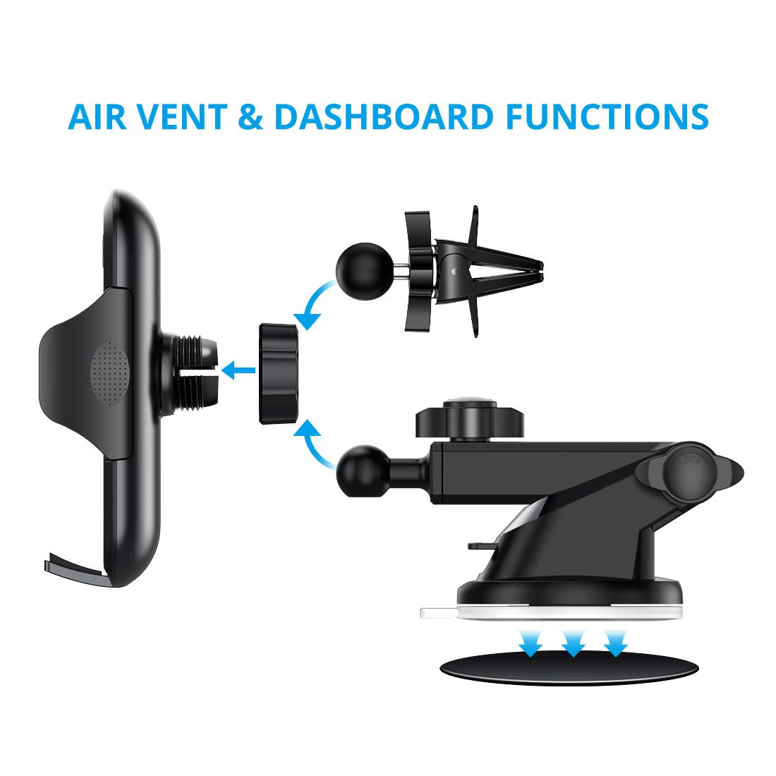 Universal Car Phone Mount VICSEED Car Phone Holder for Car Dashboard Windshield Air Vent Adjustable Long Arm Strong Suction Cell Phone Car Mount Fit for iPhone X XS Max XR Samsung Galaxy Note 10 S10 by VICSEED (Image #6)