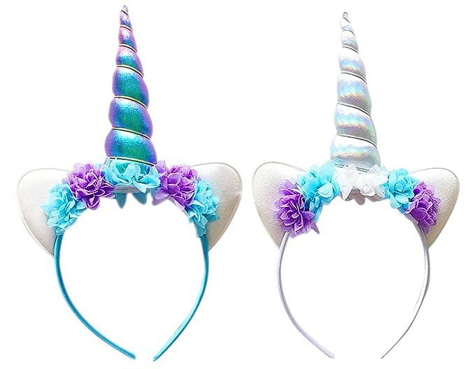 Conjunto de 2pcs diademas de unicornio y orejeras - Decoración de pelo para fiesta.