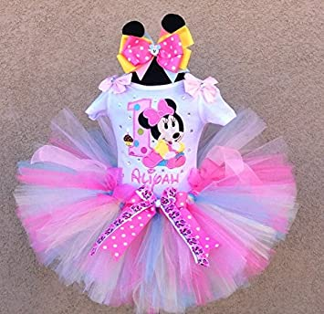 907814f98 Amazon.com : Baby Minnie Mouse Pink Polka Dots 1st Birthday Tutu Outfit :  Baby