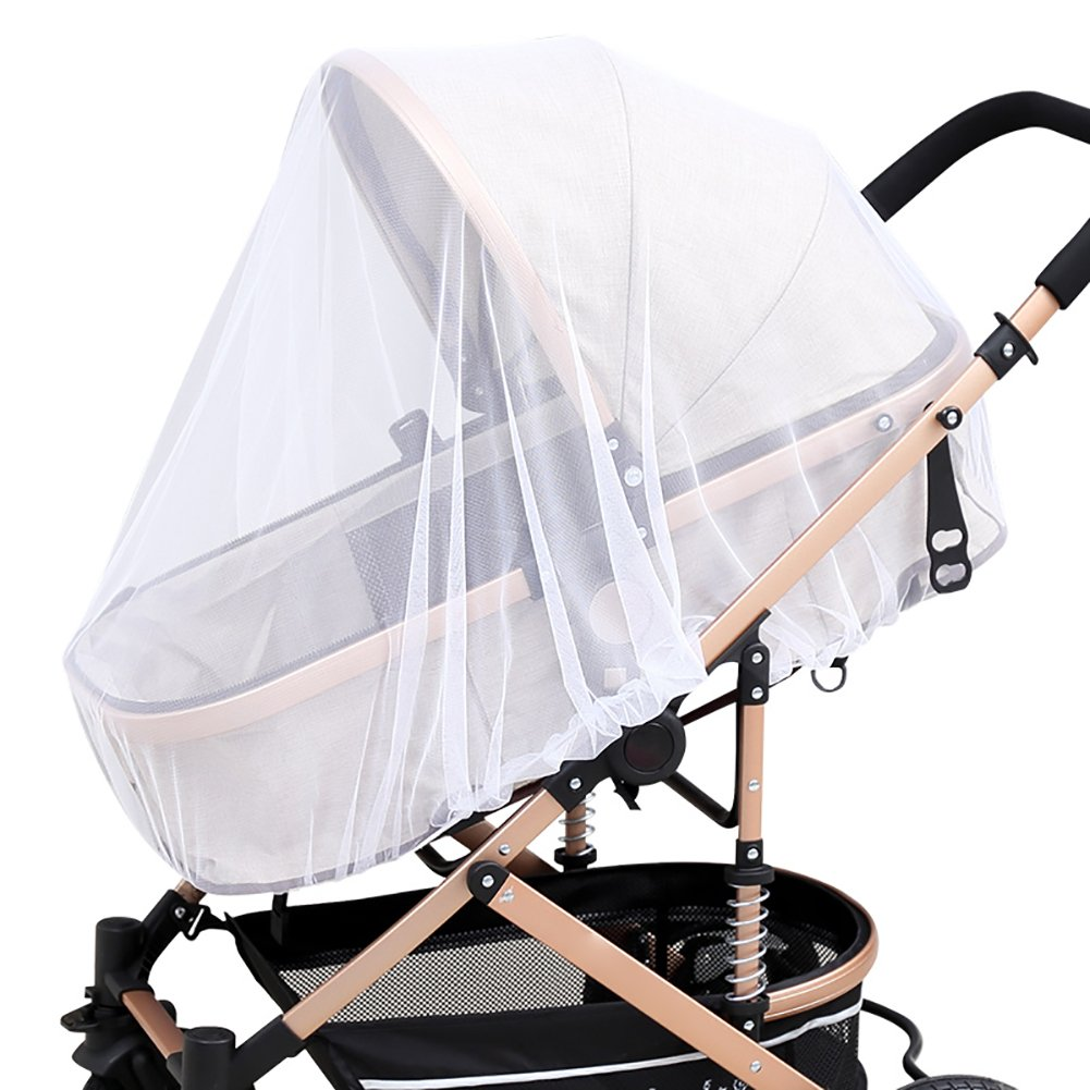 4 Pack Baby Mosquito Net for Strollers Carriers Car Seats Cradles, Portable & Durable Infant Insect Shield Netting, Babies Fly Screen Protection, White Bassion 005-MOS-1