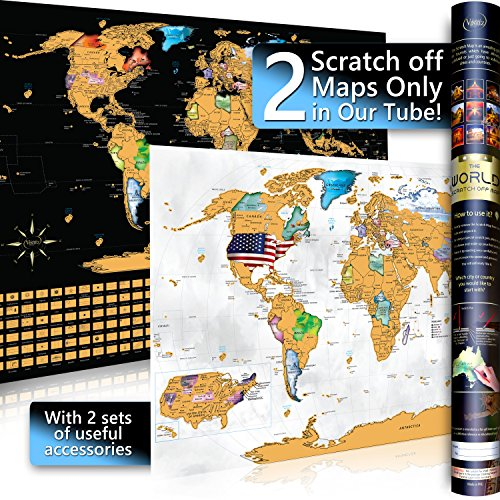 Scratch off World Travel Map Poster Set with Essentials Tools – 2 Maps in 1 Tube – 1 Glossy White & 1 Black Matte – Outlined US States – A1 Size – Laminated Art Paper – Neat & Appealing (Art Paper Sizes)