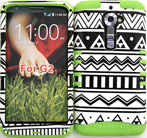 Wireless Fones TM High Impact Hybrid Rocker Case for LG G2 VS980 (Verizon only) Black & White Aztec Tribal on Lime Silicone (Verizon Lg G2 Bling Case)