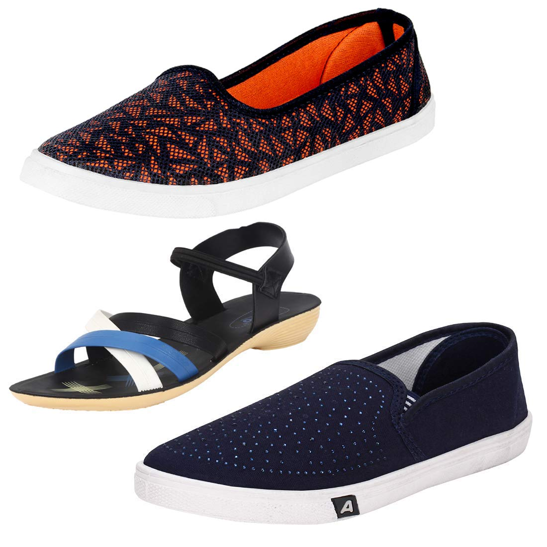7acd1fa73530ff Earton Women Multi Combo Pack of 3 Casual   Sandal with Flip-Flops  Buy  Online at Low Prices in India - Amazon.in