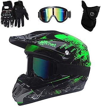 Zzsg Motocross Helm Enduro Mountainbike Helme Mit Visier Brille Handschuhe Maske Adult Off Road Helm Mit Unisex Motorradhelm Cross Helme Schutzhelm Atv Helm Für Sport Freizeit