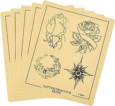 SUPVOX Piel para Práctica Tatuaje Tattoo Tatuar con Patrón de Rosa de Silicona Piel para Tatuaje Aprendizaje Entrenamiento 5 Piezas: Amazon.es: Salud y cuidado personal