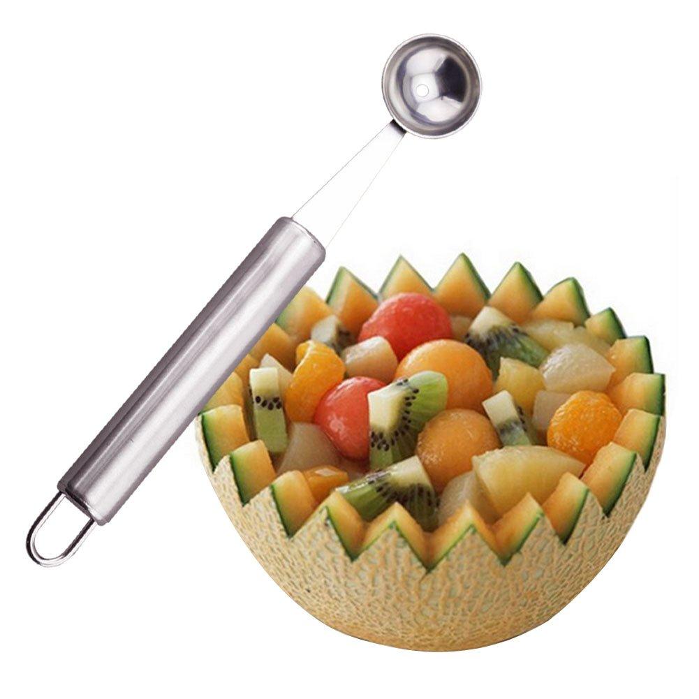 C-Pioneer Stainless Steel Melon Ball Scooper Fruit Baller Ice Cream Spoon Durable Kitchen Tool