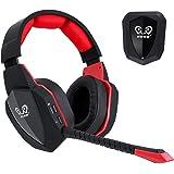 winkona 2,4GHz Wireless Gaming Headset–Compatible con PS4PS3Xbox One Xbox 360Computer PC–Claridad de sonido over Ear Auriculares–Micrófono desmontable–Batería recargable de akkuoptische