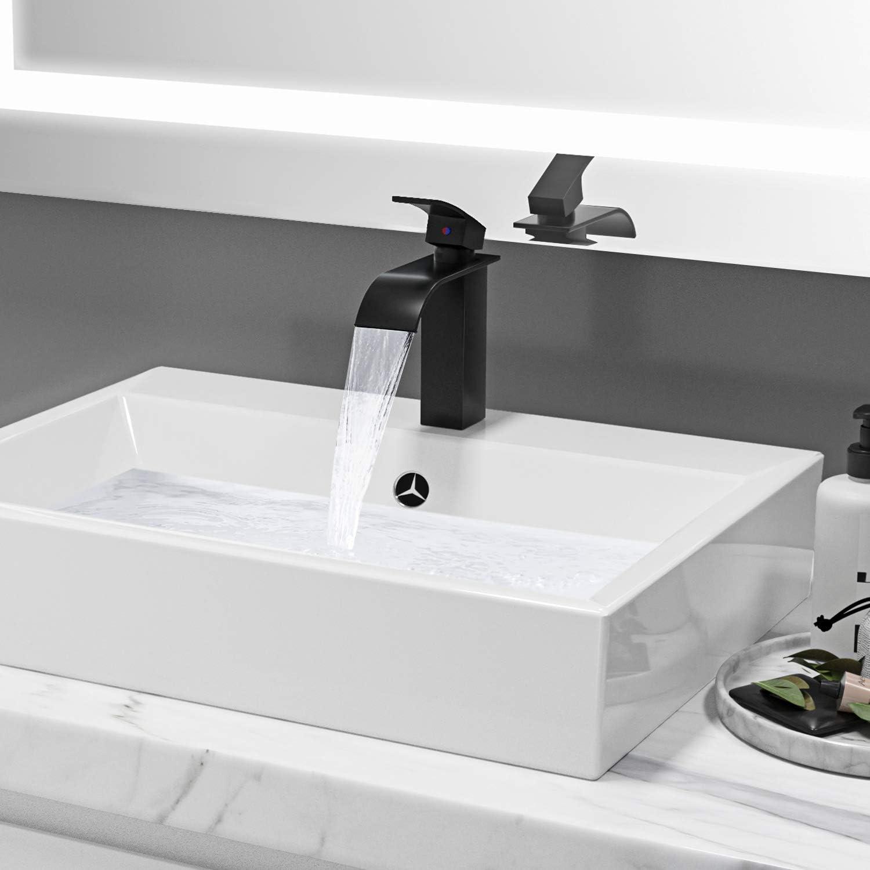 Auralum Wasserfall Bad Wasserhahn Schwarz Messing Waschbeckenarmatur Waschtischarmatur Einhebel Waschbecken Waschtisch Armatur Badarmatur Mischbatterie f/ür Badezimmer