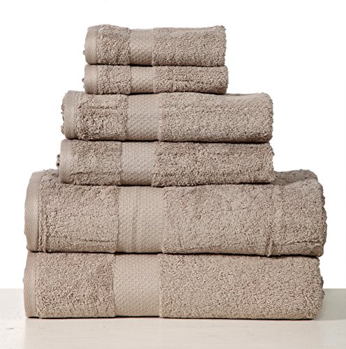Homeway Decor 100% long-staple Combed Cotton 6 piece Towel Set, quick dry towels, zero twist Micro Cotton towels, super plush and absorbent (taupe)