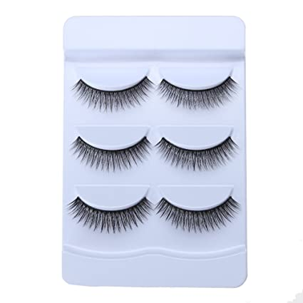 34107ca2988 Image Unavailable. Image not available for. Color: Corcrest(TM) 100% 3 Pair/Set  3D Cross Black Thick False Eyelashes
