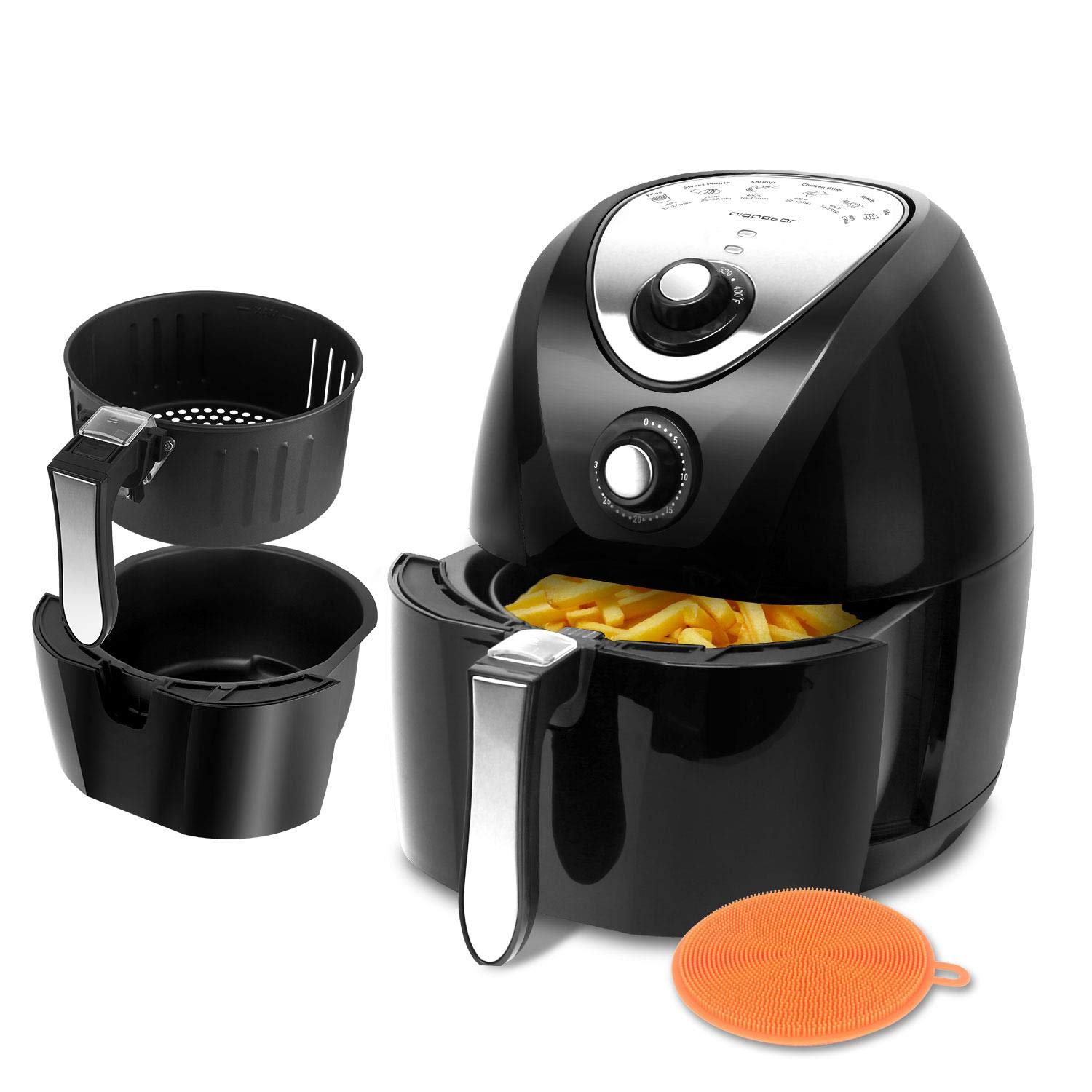 Aigostar Dragon Pro 1400W 3.4QT Air Fryer Oil Free with Rapid Air Circulation System - Non-Stick Fry Basket, Dishwasher Safe, Timer and Temperature Control For Healthy Fried Food, Black