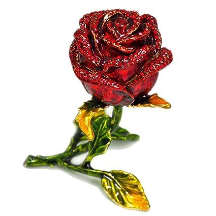 475c961fdb Amazon.com: Decorative Jewelry Case Red Rose Luxury Vintage Metal ...
