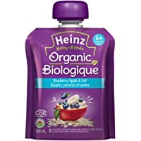 HEINZ Strained Organic Blueberry Apple Oats Pouch, 6 Pack, 128ML Each