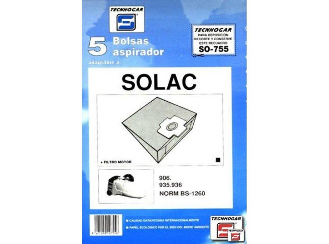 Distribuidora Ersa. 910755 - Bolsa aspirador papel solac 935-936 thogar 5 pz 910755: Amazon.es: Industria, empresas y ciencia