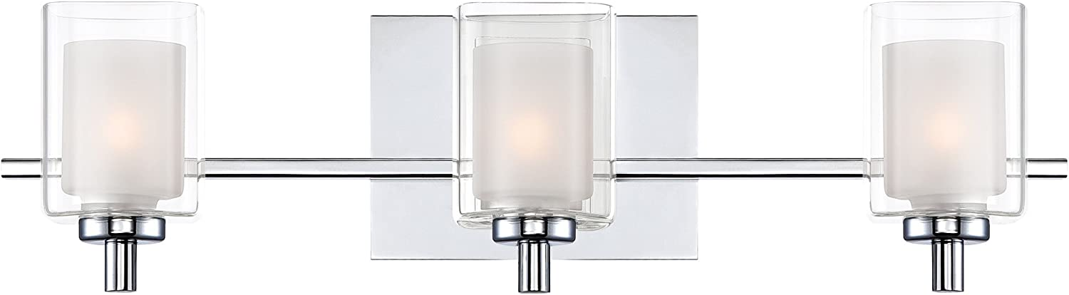 Quoizel KLT8603CLED Kolt Modern Vanity Bath Lighting, 3-Light, LED 13.5 Watts, Polished Chrome 6 H x 21 W