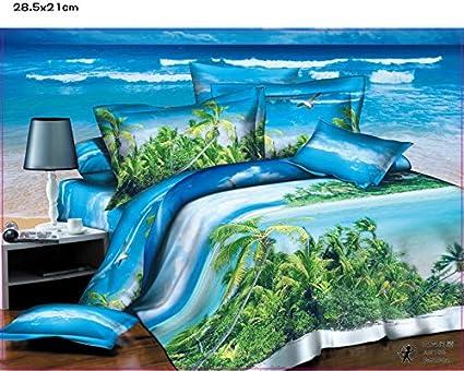 Home textile 3D 100% algodón diseño de faro y mar de playa de perro de