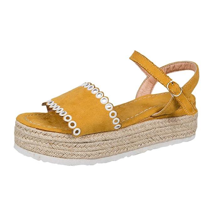 2a247067 Sandalia con Plataforma Negro Mujer Verano 2019 Moda Casual Sandalias con  Punta Abierta para Mujer Hebilla Correa Sandalias Plataformas Zapatos  Planos Playa ...